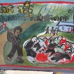 Dessin d'enfant réalisé sur le site de l'ancienne prison de Kraing Tha Chan. (Anne-Laure Porée)