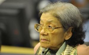 Le débat des dernières audiences portait sur l'état de santé de Ieng Thirith, ancienne ministre khmère rouge des Affaires sociales photographiée ici le 19 octobre 2011. (CETC)