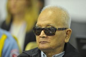 """""""Ces crimes dont on nous accuse, on nous les reproche à tort. Il est dommage de voir que l'on a confondu les amis et les ennemis"""" dit Nuon Chea aux juges le lundi 5 décembre 2011. (CETC)"""