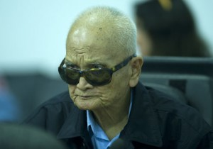 """Au cœur du discours de la défense figure cette citation de Nuon Chea : """"Certains faits seulement sont pris en compte par les chambres. On ne discute ici que du corps du crocodile et pas de sa tête ni de sa queue."""" (CETC)"""