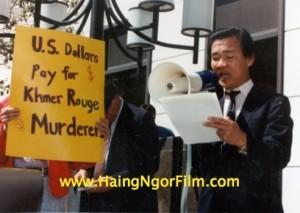 Le Dr Haing Ngor en campagne contre le soutien américain aux Khmers rouges. (DR)